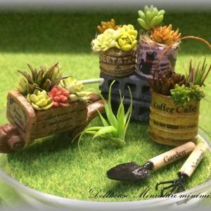 miniminiclubs ミニチュア雑貨 ハンドメイド 手作り  植物 多肉植物 寄せ植え 花