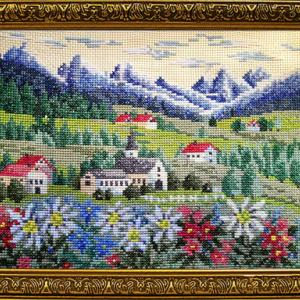 「花の咲く風景」出来ました。オリンパス・クロスステッチ刺繍キット