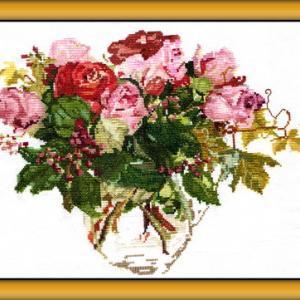 クロスステッチ刺繍(オランダのバラ)製作過程動画