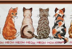 全部完成しました。「猫を探しています 十字のステッチ キット DMC綿」