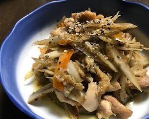 鶏ごぼうとごぼうの甘酢炒め