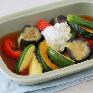 4th-marketの器で『夏野菜の揚げ浸し』