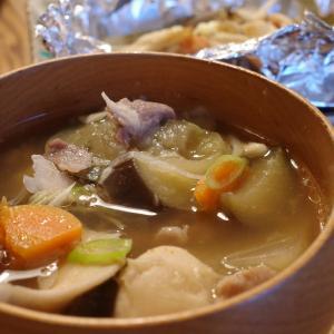 芋煮とタラのホイル焼き