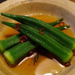 オクラで二品、煮浸しと梅和え 夏野菜の季節です