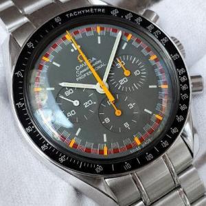 オメガ スピードマスターマーク2復刻 Ref.3570.40 グランプリ文字盤 日本限定2004本 2005年製 箱/保証書 アポロ11号月面着陸35周年記念レアモデル