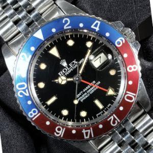ロレックス GMTマスターⅠ 赤青ペプシベゼル Ref.16750 1985年製 フチ有インデックスモデル オールトリチウム夜光