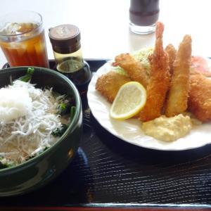 ホット赤羽/海老魚のフライかにクリームコロッケしらす丼@田原市