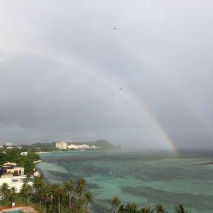 グアムの天気 6月15日 ダブルレインボー sashi from Guam