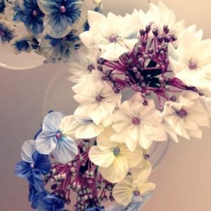 つまみ細工で墨田の花火とガク紫陽花