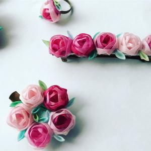 ■通信&教室募集中■玉バラのバレッタ&リースコサージュ つまみ細工花びらの応用講座