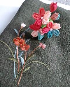 【色見本】秋色の可愛いお花。撫子の2wayピン