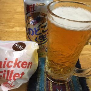 ダブルチキンフィレサンドには、やっぱりビールなんだなぁ