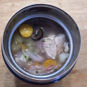 鶏肉とタマネギとキャベツとニンジンのスープ