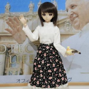 白いのセーターにロングスカート
