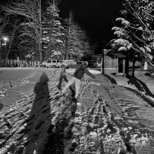札幌に初雪が降った日の星景写真