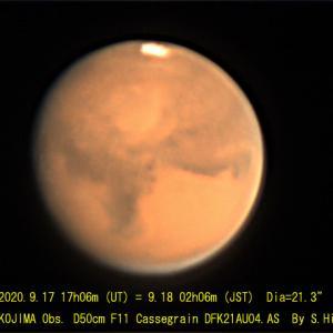 2020年9月18日の火星・木星・土星