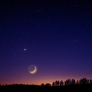 【細いお月様が金星・水星と競演!】今夜、日の入り直後に西の空を見てみよう★(2020.5.24)
