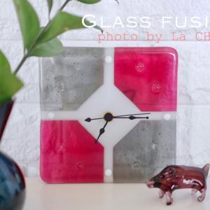 ガラスフュージングの置き時計♪