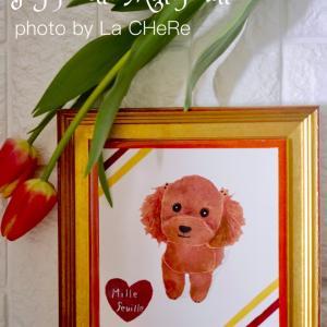 初めての絵の具作品は愛犬で完成♡