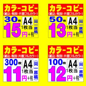A4片面カラー30部 @15+税 暇時15分程