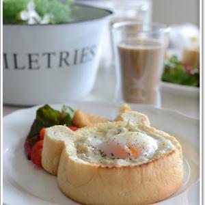 クマのパンの器で休日の朝食~♪