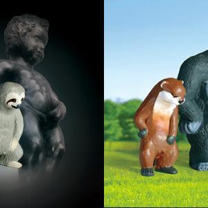 小便小僧ポーズの動物たちのフィギュアがガチャに登場!けもの美術館「しーしー小僧」