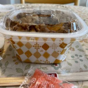すき家の牛丼とプリン