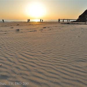2月の稲佐の浜の夕日
