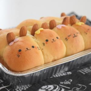 セリアのアルミパウンド型で♪うさぎのちぎりパン。