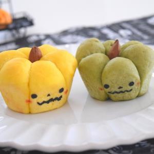 ハロウィンに♪パウダーで楽しむタコ糸なしのかぼちゃちぎりパン。