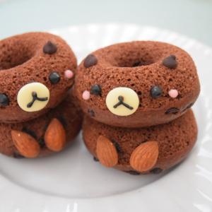 【レシピ】バターなし♪ココアの焼きドーナツ♡立体くま仕上げ。