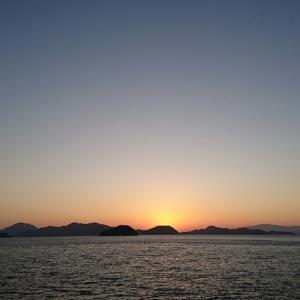 夕陽と晩御飯♪