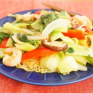 【スパイス大使】青梗菜と海老といかのナンプラーあんかけやきそば