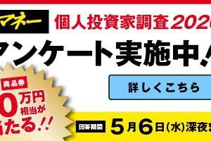 【ギフト券最大10万円】日経マネー誌「個人投資家調査2020」がスタート。