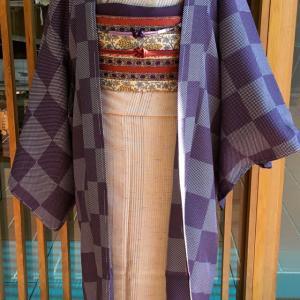 紫地ドット市松文羽織