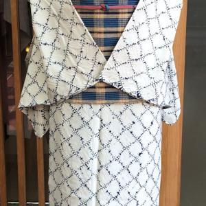 薄藍白地絞り文単衣小紋と草木染地格子文丹波布八寸なごや帯