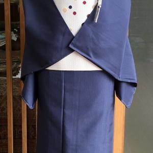 【単衣】紺地縞門お召と白地水玉文本場筑前博多織八寸なごや帯