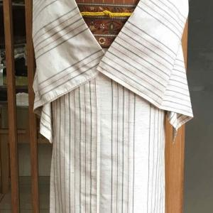 【単衣】生成地縞文ぜんまい紬と金茶地縞花唐草文八寸なごや帯