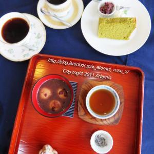 新オープン cafeともとき (ともときファーム吉備) 抹茶シフォンケーキ ぜんざい