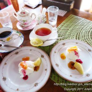 古民家 Dining noBu(ノブ) グレープフルーツのムースと、ミルクアイス フルーツ添え
