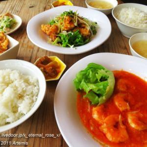 新オープン 中華マルキン食堂 エビチリ定食 油淋鶏(ユーリンチー)ネギソース定食