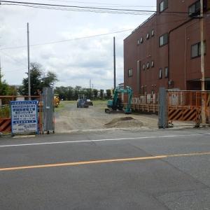 五輪向け駐車場の工事中(地方庁舎跡・仮設駐車場)