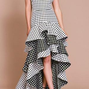 「タダシショージ」クラシカルなドット柄ジャガードドレス