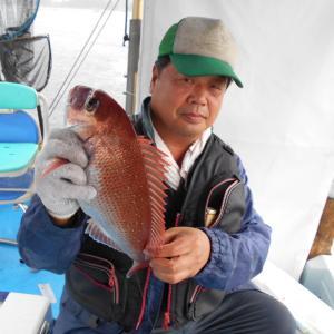 大雨の中、鯛釣りに、、、、、(笑)