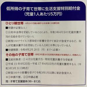『生活支援特別給付金』(児童1人あたり5万円)が支給されます。