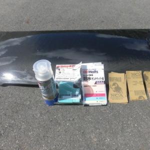 L275Vミラバンに取り付けているカーボンボンネットのクリア塗装を塗りなおしました!!