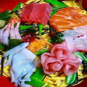 ちらし寿司とお澄まし ~半額お刺身で簡単ちらし~