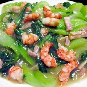 青梗菜と小海老の中華炒め ~中華スープはベーコンの持ち味~