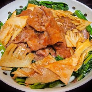 豚と筍とほうれん草の生姜焼き ~先日の冷凍タケノコ使用~