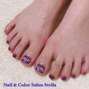 青と赤を混ぜると紫だから♡「オータムビジュー」な秋色フットネイル☆フットジェル